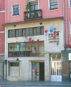 Socialist Party of the Basque Country–Basque Country Left - PSE-EE offices have been targeted by undercover attackers, like this one in Bilbao.