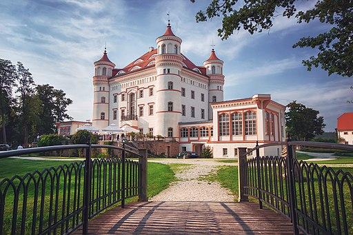 Pałac w Wojanowie latem