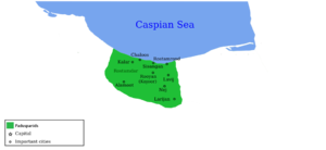 Paduspanids - Map of the normal domains of the Paduspanids in Tabaristan