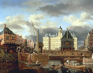 Jan van Kessel (Amsterdam) - The Amsterdam City Hall with the old Weigh House on the Dam (the weigh house was dismantled during the French occupation).