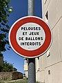 Panneau B19 Pelouses Jeux Ballons Interdits Rue Jean Moulin St Laurent Saône 1.jpg