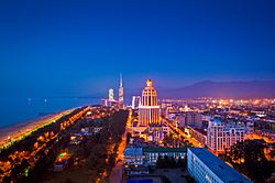 Panoramic view of Batumi at night