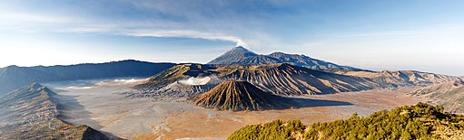 Panoramic view of Mt. Bromo, Mt. Batok, and Mt. Semeru