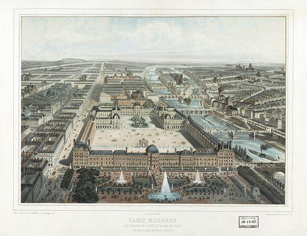 File paris moderne les tuileries le louvre et la rue de for Le jardin moderne