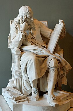 Blaise Pascal (1623–1662) studying the cycloid, engraved on the tablet he is holding in his left hand; the scattered papers at his feet are his Pensées, the open book his Lettres provinciales. Exhibited at the Salon of 1785; the plaster model was exhibited at the Salon of 1781.