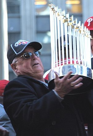 Baseball Hall of Fame balloting, 2011 - Image: Pat Gillick holds up 2008 WS trophy CROP