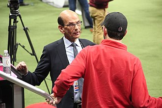 Paul Finebaum - Finebaum (left) at the 2018 College Football Playoff National Championship media day