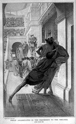Pausanius assassinates Philip during the procession into the theatre by Andre Castaigne (1898-1899).jpg