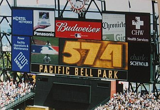 "Oracle Park - Barry Bonds passes Harmon Killebrew for seventh on the all-time home run list on May 13, 2002. Note the sign on the scoreboard saying ""Pacific Bell Park""."