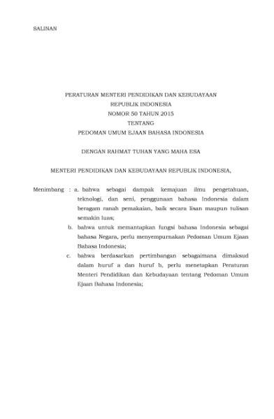 Filepermendikbud Nomor  Tentang Pedoman Umum Ejaan Bahasa Indonesia Djvu