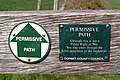 Permissive path signs on a stile, Rope Lake Head - geograph.org.uk - 769121.jpg