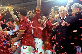 2007–08 Coppa Italia - AS Roma players are given the trophy by Italian president Giorgio Napolitano after the final