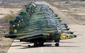 Peruvian Air Force - A lineup of Peruvian Sukhoi Su-25s, the country's main attack aircraft.
