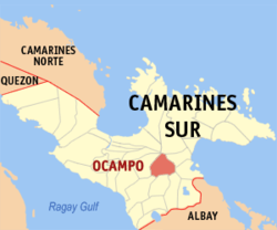 Map of Camarines Sur with Ocampo highlighted