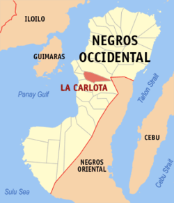 Mapa ti Negros Occidental a mangipakita ti lokasion ti La Carlota, Negros Occidental.