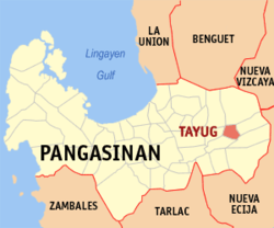 Map of Pangasinan with Tayug highlighted