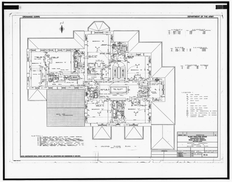 File:Photograph of line drawing in possession of Engineering Plans and Services Division, Rock Island Arsenal. SECOND FLOOR PLAN, UNDATED. - Rock Island Arsenal, Building No. 1, HABS ILL,81-ROCIL,3-1-30.tif