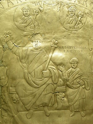 Ardabur - A detail of the Missorium of Aspar, depicting Aspar and his son Ardabur (434 c.).