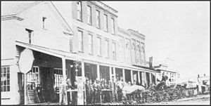 Northville, Michigan - View of NE side of Main St, frame building built in 1830 by John Miller