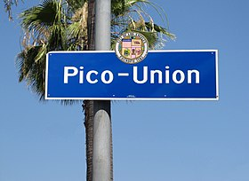 e708b6888d6 Neighborhood of Los Angeles · Pico-Union signage located at Pico Blvd. and  Albany Street