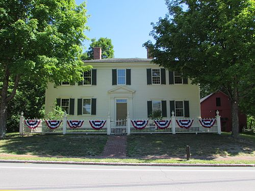 The Franklin Pierce Homestead in Hillsborough, New Hampshire, where Pierce grew up, is now a National Historic Landmark. He was born in a nearby log cabin as the homestead was being completed. Pierce Homestead.jpg