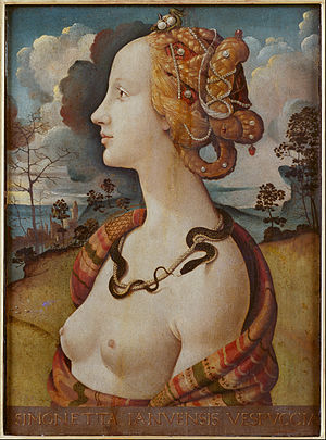 Simonetta Vespucci - Portrait of a woman, said to be of Simonetta Vespucci (c. 1490) by Piero di Cosimo