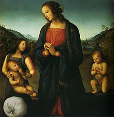 Madonna with child, Saint John the Baptist, and an angel
