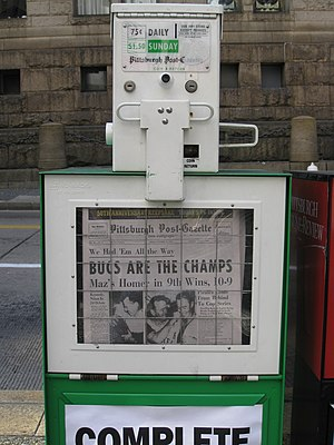1960 World Series - The Pittsburgh Post-Gazette October 13, 2010, a 50th anniversary reprint of the Pirates' Game 7 victory