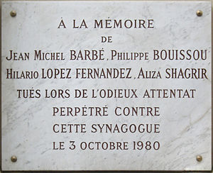 Plaque in memory of the victims of the 1980 Pa...