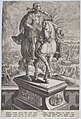 Plate 11- equestrian statue of Titus, seen three-quarters to the right, Mount Vesuvius erupting at left in the background, from 'Roman Emperors on Horseback' MET DP877300.jpg
