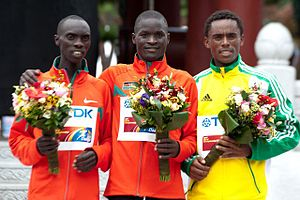 2011 World Championships in Athletics – Men's marathon - The men's marathon podium at the 2011 World Championships