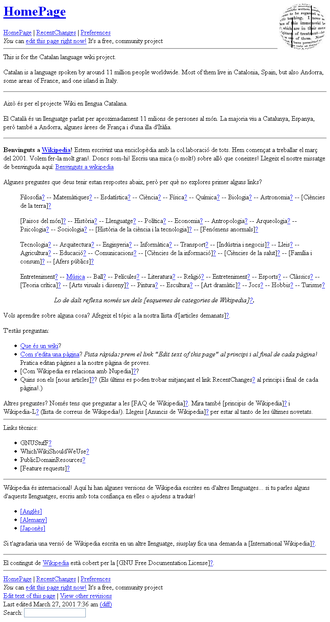 Catalan Wikipedia - Image: Portada del març del 2001