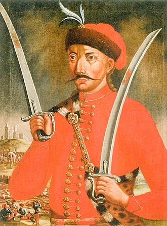 Pál Kinizsi - Pál Kinizsi in a Romantic painting depicting him in 17th-century Hussar uniform.