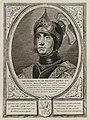Portret van Dirk IV, graaf van Holland, in een harnas. Hij draagt een helm. De omlijsting is versierd met het wapen van Holland. NL-HlmNHA 1477 53012898.JPG