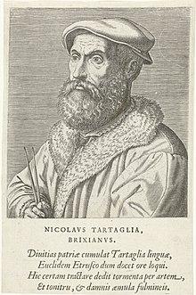 Portret van Niccolo Tartaglia Nicolavs Tartaglia Brixianvs (başlık op nesnesi) Portretten van beroemde Europese geleerden (serietitel) Virorum doctorum de Disciplinis benemerentium effigies (serietitel), RP-P-1909-4459.jpg