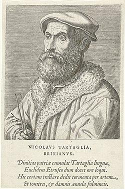 Portret van Niccolo Tartaglia Nicolavs Tartaglia Brixianvs (titel op object) Portretten van beroemde Europese geleerden (serietitel) Virorum doctorum de Disciplinis benemerentium effigies (serietitel), RP-P-1909-4459.jpg
