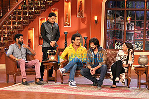 Kapil Sharma (comedian) - Image: Prabhudeva, Sonu Sood, Shahid Kapoor, Sonakshi Sinha and Kapil Sharma on the sets of Comedy Nights with Kapil