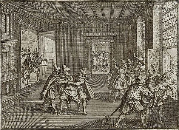 A later woodcut of the defenestration in 1618 Prager.Fenstersturz.1618.jpg