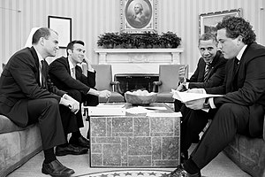 Cody Keenan - Keenan works with speechwriters Ben Rhodes, and Jon Favreau, with President Obama in the Oval Office in February 2013