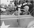 President Harry S. Truman is sitting in a sedan with Brig. Gen. Doyle O. Hickey, Commanding General of the 3rd... - NARA - 198928.tif