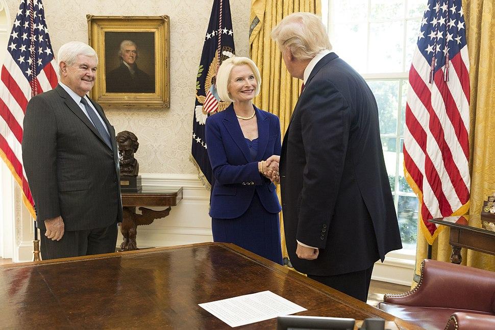President Trump, Newt Gingrich, and Callista Gingrich 2017