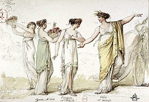 Proserpine (Paisiello) - Berthélemy's costumes for the 1803 premiere depicting (left to right) a nymph, Cyané, Proserpine, and Cérès