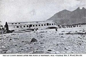 1909 Monterrey hurricane - The San Luisito bridge destroyed after the flood