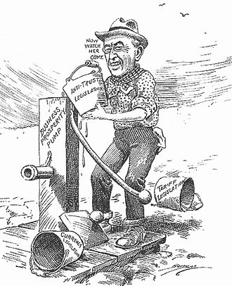 Presidency of Woodrow Wilson - In a 1913 cartoon, Wilson primes the economic pump with tariff, currency and anti-trust laws