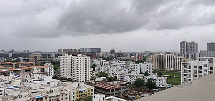 Hadapsar, a recently developed suburb of Pune. Pune Skyline 2018.jpg