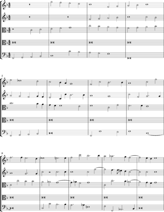 Pedal point - Purcell Fantazia upon One Note, opening bars.