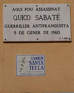 Quico Sabaté (Placa en Sant Celoni).