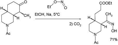 Key step in quinine total synthesis by Woodward / Doering