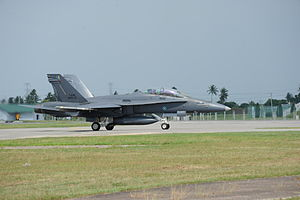 2013 Lahad Datu standoff - An American-made F/A-18, one of the jet fighters used by the Royal Malaysian Air Force during the operation.