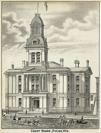 Racine County, Wisconsin - 1879 engraving of the Racine County courthouse